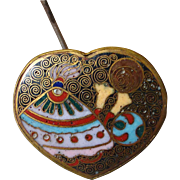 Rare Japanese Cloisonne Heart Top Hatpin