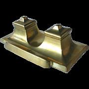 Art Deco Sleek Bronze Double Inkwell