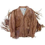 Mens Cowhide Suede Fringed Western Jacket