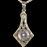 14k Edwardian Lavaliere Necklace w Diamond