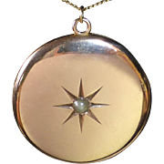 Large 10k Locket Engraved Star w Pearl 14k Chain
