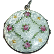 Antique 800 Silver & Guilloche Enamel Edwardian Locket