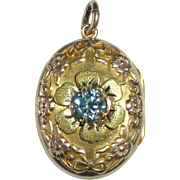 Art Deco 10K & Natural Blue Zircon Locket w Flowers & Bows