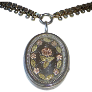 Aesthetic Sterling Locket & Bookchain Necklace Rose & Yellow Gold Embellishments