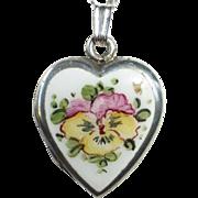Sterling Heart Locket & Chain w Enamel Pansy