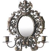 Antique Cast Iron Mirror w Cherub Nudes & Candle Sconces