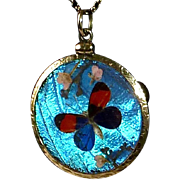 Edwardian 10k Double Sided Iridescent Morpho Butterfly Wing Pendant & Chain