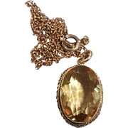 10k Yellow Gold Citrine Pendant Necklace