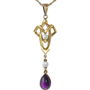 Art Deco 14k Gold Lavaliere Necklace Seed Pearls & Amethyst
