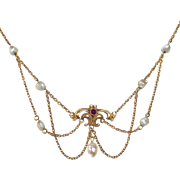 14k Edwardian Festoon Necklace FWP & Garnet