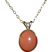 14k Oval Coral Cabochon Drop Necklace