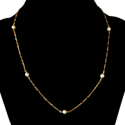 14k Chain Necklace with Cultured Pearls