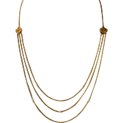 14k Festoon Necklace w Fresh Water Pearls