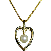 14k Heart Pendant Necklace Cultured Pearl