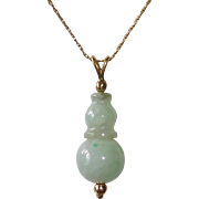 Carved Jade Pendant 14k Yellow Gold Chain