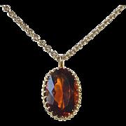 14k Madeira Citrine Pendant & Chain