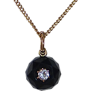14k Faceted Onyx Ball Mourning Pendant w Inset Diamond 14k Chain