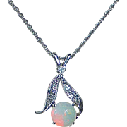 14k Opal & Diamond Pendant Necklace c1950s
