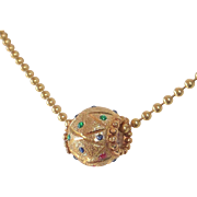 14k Ornate Embellished Single Bead on Ball Chain