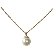 14k Luminous Large Single Pearl Drop Pendant Necklace