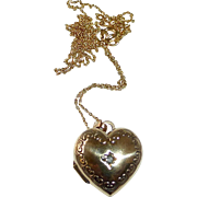 9k Puffy Gold Heart Locket w Mine Cut Diamond 14k Chain