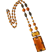 Art Deco Brass & Amber Glass Necklace