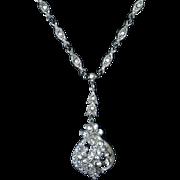 Art Deco Deep Set Paste Pendant & Chain Necklace