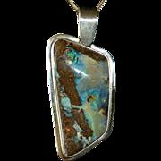 Sterling Boulder Opal Asymmetrical Pendant & Chain