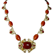 Art Deco Czech Bronze Filigree Necklace Carnelian Glass