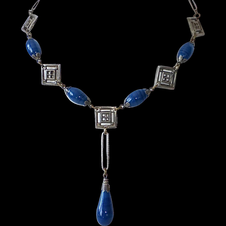 Art Deco Y Necklace w Teardrop Blue Glass Drop