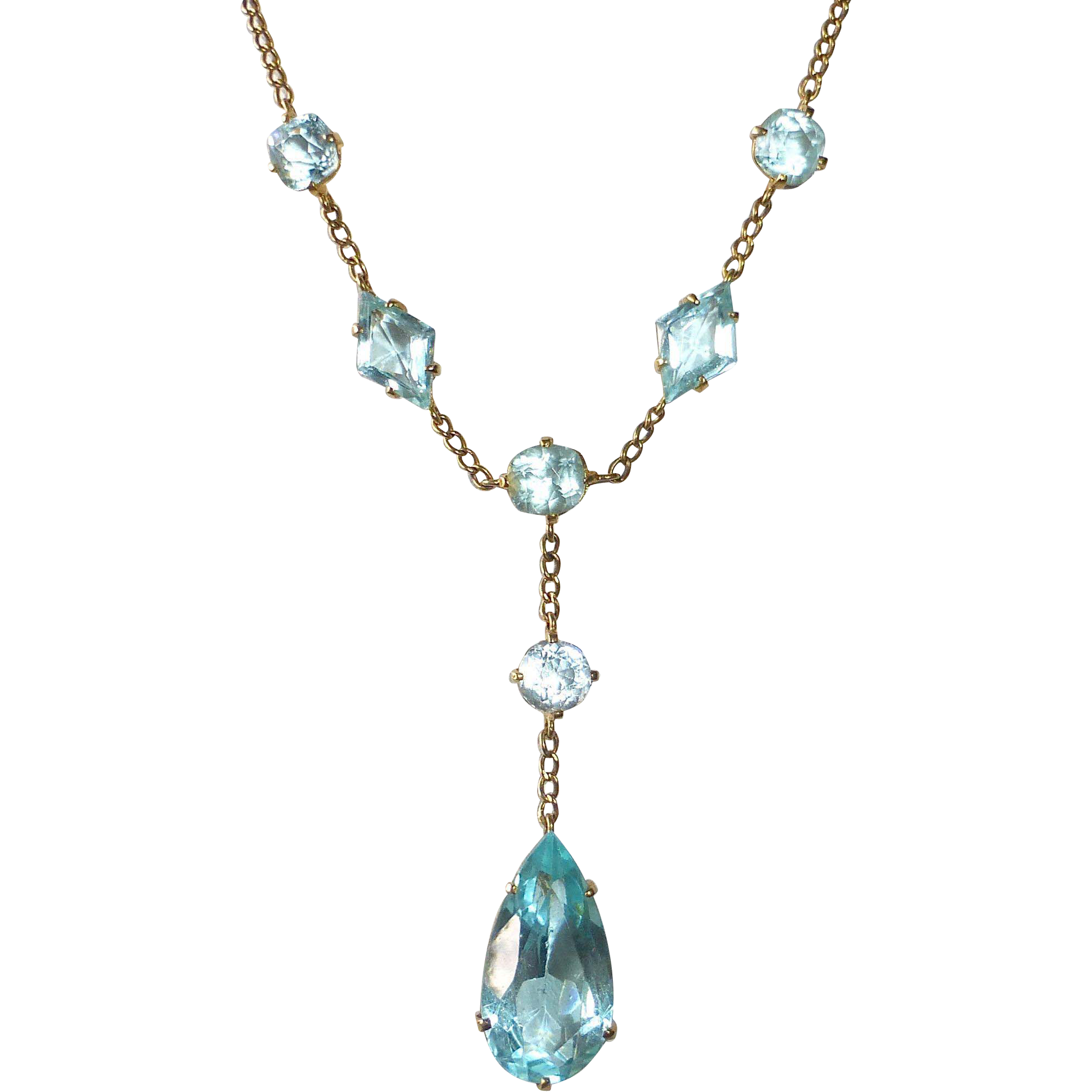 Antique Edwardian 10k Yellow Gold Necklace Aqua Paste Jewels