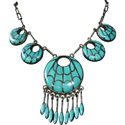 Native American Sterling & Inlaid Turquoise Necklace by Annie Quam Gasper