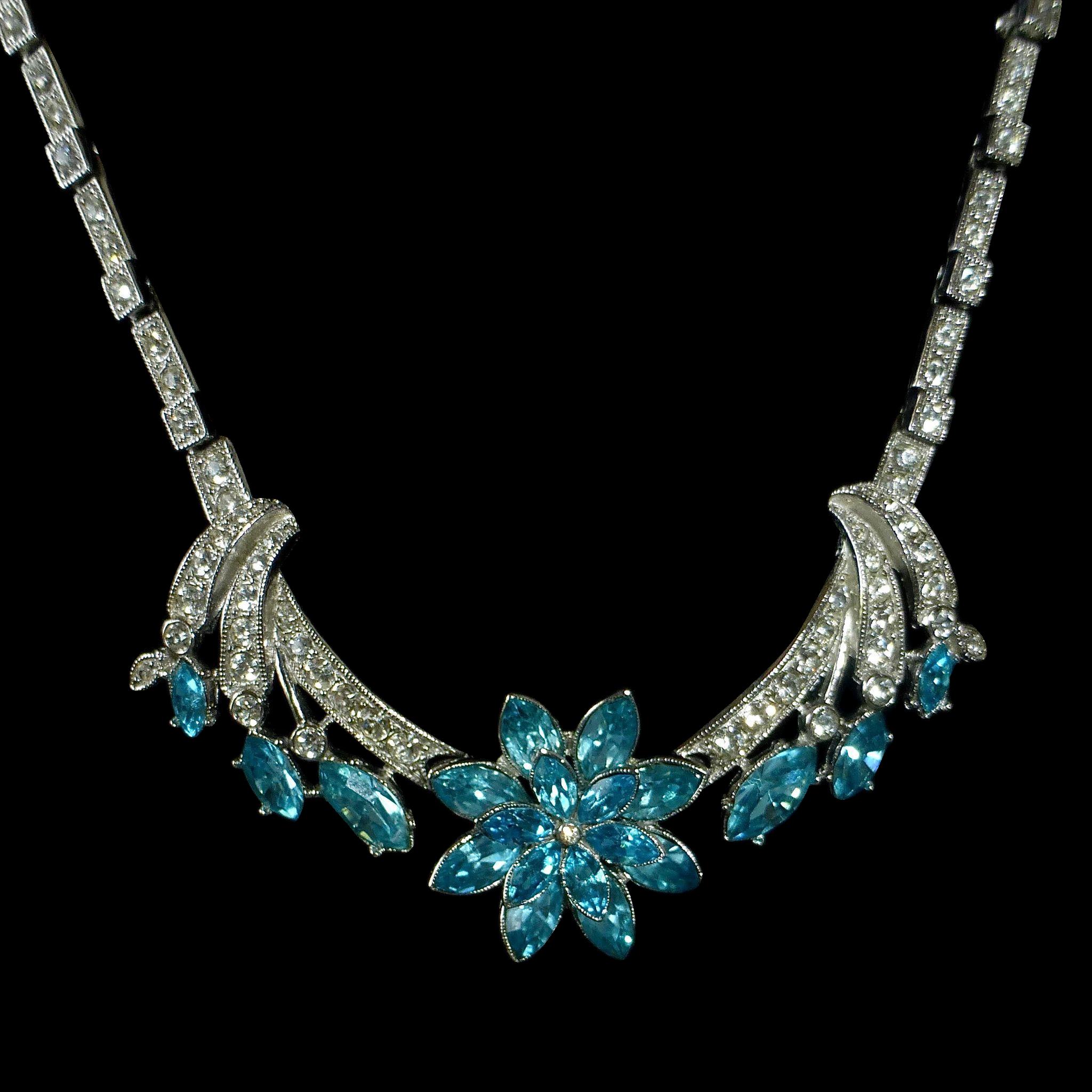 Ora Rhodium Plated Rhinestone Necklace w Aqua Floral Centerpiece