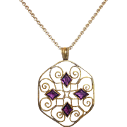 Victorian Wire Work Pendant w Amethyst Glass Jewels