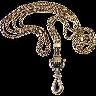 14k Victorian Figa Hand/Fist Decorative Watch Chain