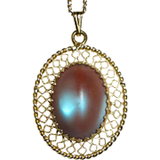 Whiting Davis Filigree Pendant Necklace w Saphiret Glass Cabochon