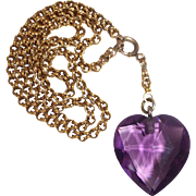 Victorian Faceted Amethyst Heart Pendant Necklace