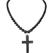 Antique Victorian Matte Black Glass Cross Mourning Necklace