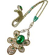 Art Deco Brass Filigree Necklace w Green Glass Jewels