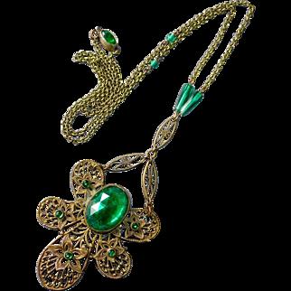 Art Deco Brass Filigree Necklace w Green Glass Jewels