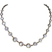 Czech Art Deco Bezel Set Cut Crystal Necklace