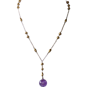Art Deco Gold Filled Amethyst Ball Drop Y Necklace