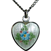 Sterling & Guilloche Enamel Forget-Me-Not Heart Pendant Necklace