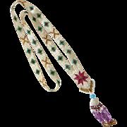 Art Deco Flat Woven Patterned Bead Necklace w Tassel