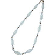 Frosted Glass Bead & Crystal Bead Necklace GF Spacers