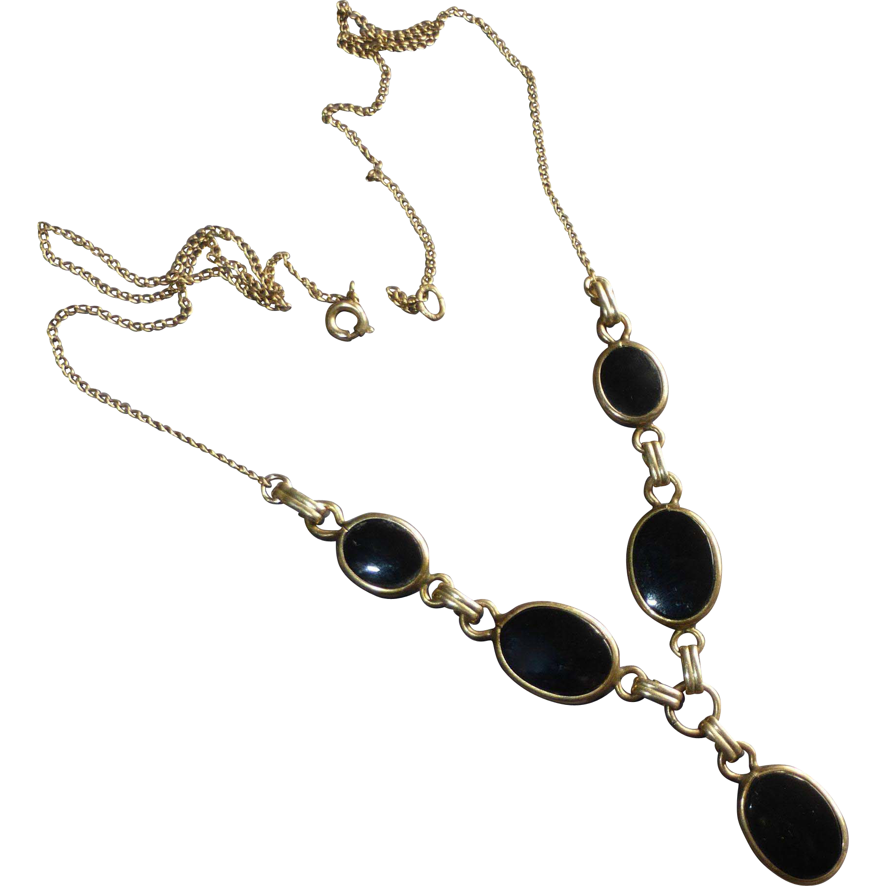 Gold Filled & Onyx Cabochons Y Necklace