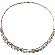 Gold Filled Blue Rhinestone Necklace c1950s