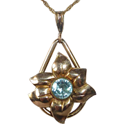 Gold Filled Retro Flower Pendant Necklace w Blue Zircon