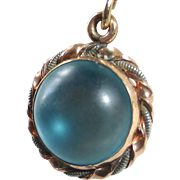 Saphiret Glass Sphere Rose Gold Filled Charm Necklace