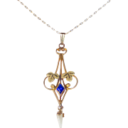 10k Rose & Yellow Gold Blue Jewel & Pearl Drop Lavaliere Necklace 14k Chain